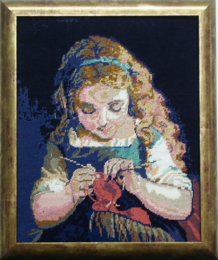 Child Knitting Tapestry