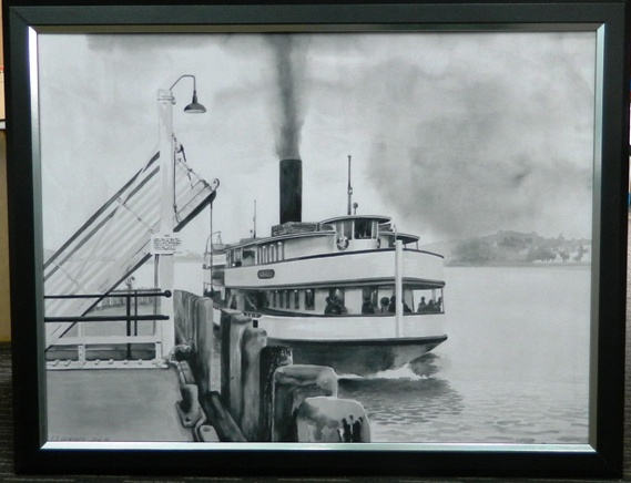 Pencil drawing of ferry from Devonport
