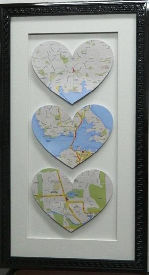 Triple maps cut in heart shape