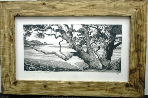 black & White drawing in wooden frame