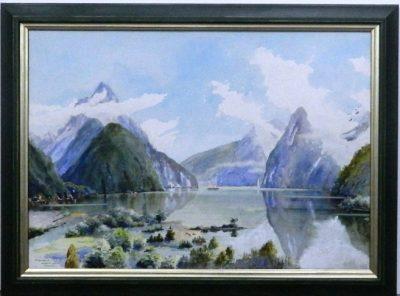 Mitre  Peak Watercolour print double framed
