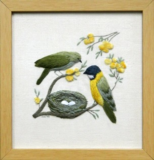 Bird Embroidery Framing