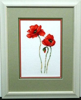 Embroidery Framed poppies