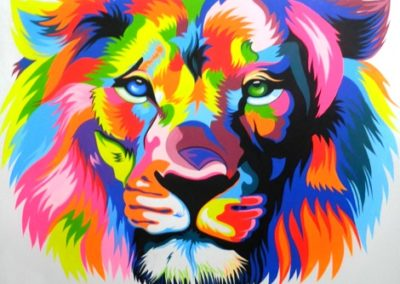 Colourful Lion Stretched Canvas