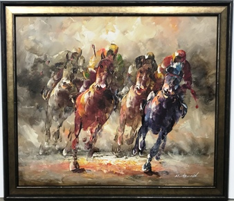Horse Canvas with gold frame
