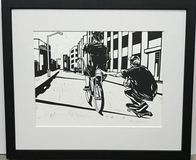Bike & skateboard Lino Cut