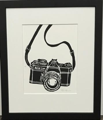 Lino Cut print Nikon Camera