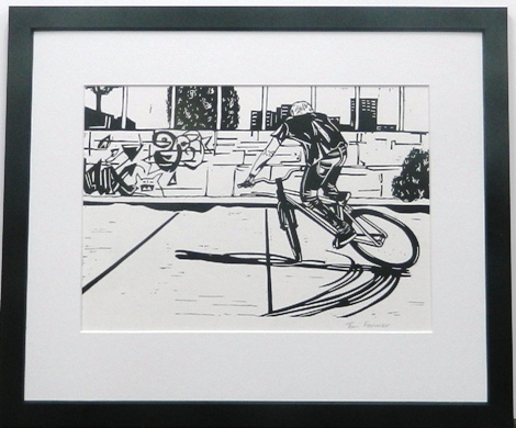 Lino cut cyclist