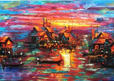 Thai Sunset Village canvas
