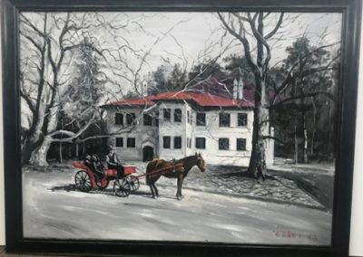 Horse And buggy canvas with black frame