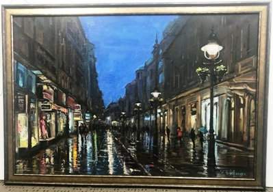 Night street canvas with gold frame