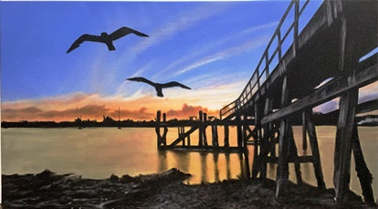 Canvas Painting Beachhaven wharf