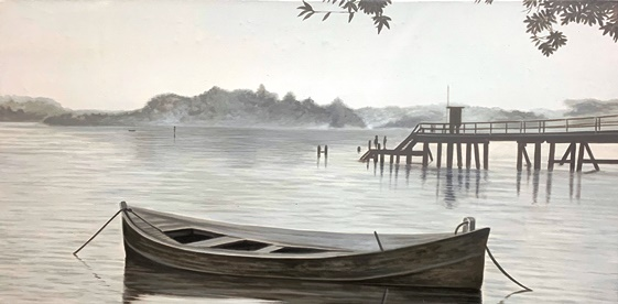 Canvas painting boat on waters edge
