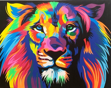 Lion head canvas painting