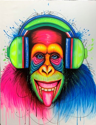 Monkey and headphones canvas