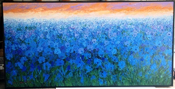 Blue Flowers on canvas and Black tray frame