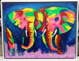 Elephant canvas with white Tray frame