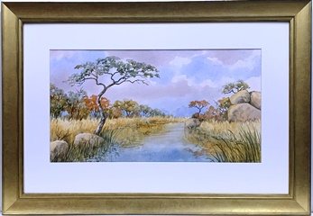 Watercolour print new gold frame
