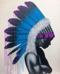 Blue Feathered head dress
