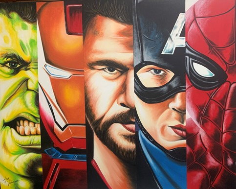 Marvel images on canvas