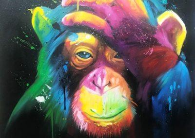 Bali monkey canvas