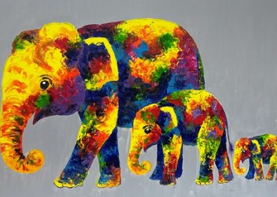 Elephant Family on canvas