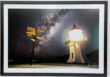 Lighthouse at night Print